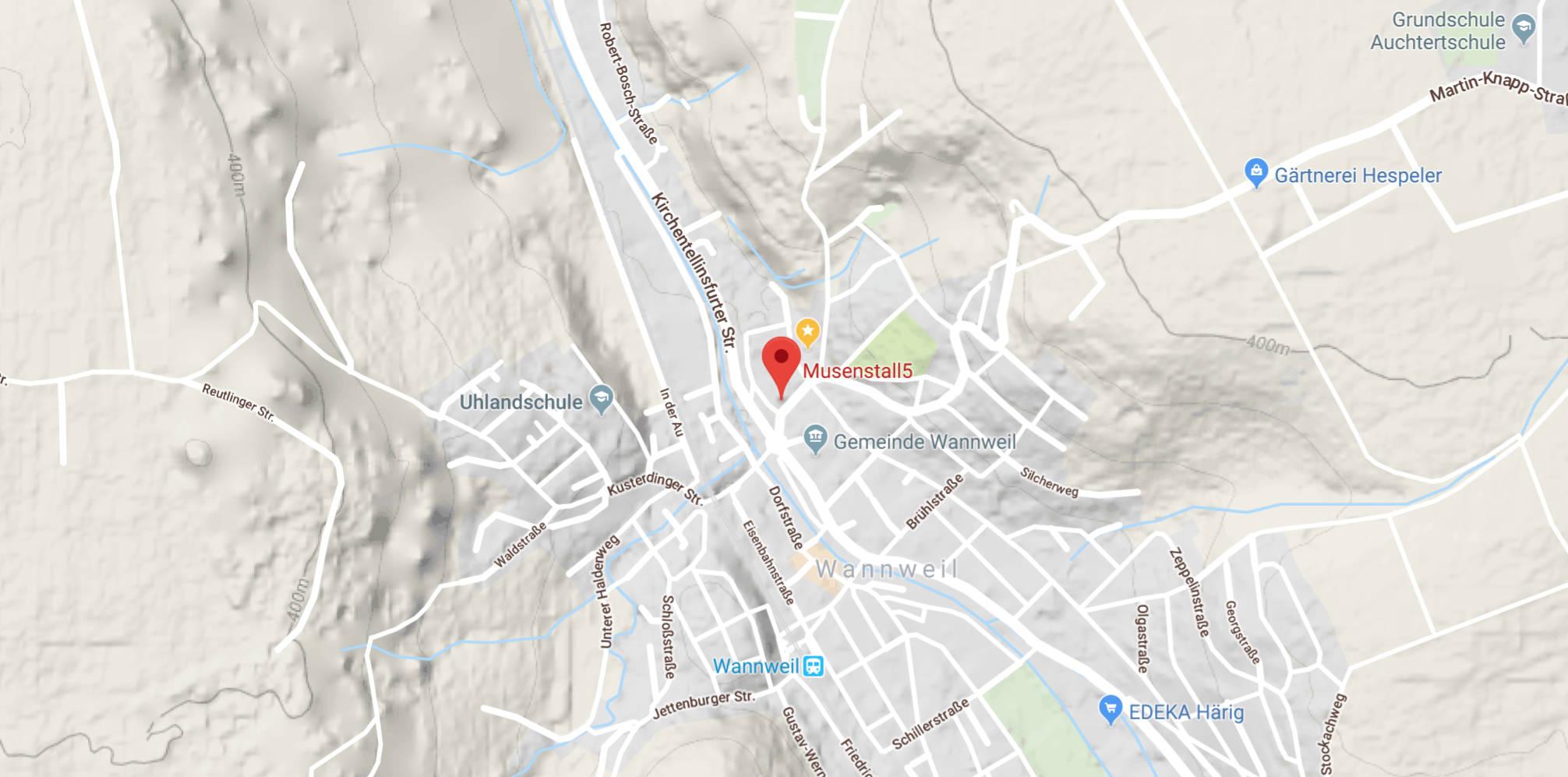 ein Foto einer Googlekarte mit dem Musentstall im Zentrum